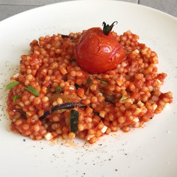 Pearl couscous with roast vegetables