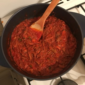 Ragu prepared with all ingredients added
